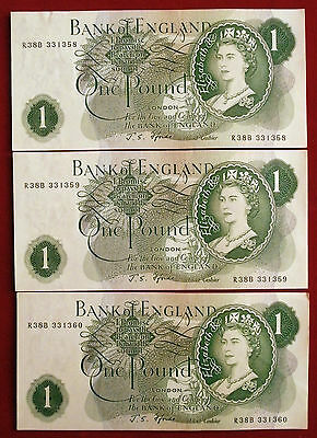 "3 EXCELLENT CONSEC Fforde £1 Notes with ""G"" ON BACK R38B 331358 to R38B 331360"