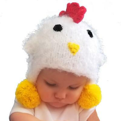 Huggalugs Baby Toddler Childrens Cozy White Chicken Beanie Hat E-I-E-I-O...