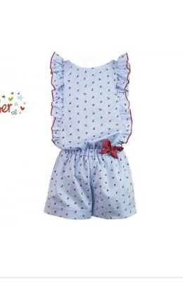 Alber Blue And Red Trim Rose Bow Playsuit Jumpsuit Girls Summer Outfit 6 Bnwt