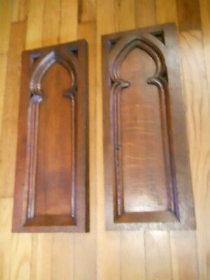 Pair of French Antique Gothic Revival Panels   Oak Wood  Salvage