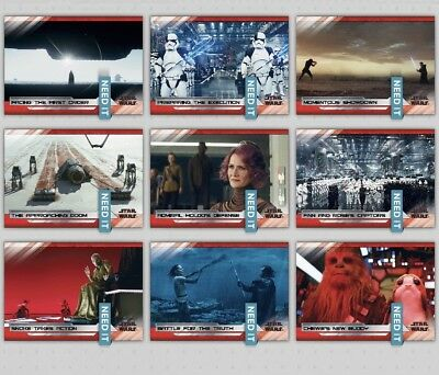 LAST JEDI SELECTS SERIES 2 WAVE 5 WHITE SET OF 9 CARDS Star Wars Trader Digital