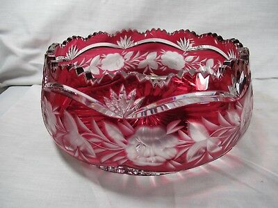 Antique High Quality Bavarian Cranberry Cut To Clear Glass Toothed Bowl
