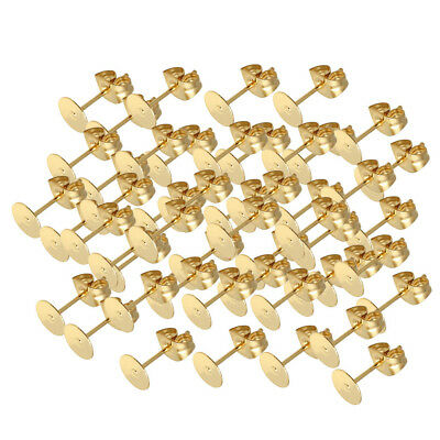 25 Pair of Stainless Steel Stud Earring Posts Blank Pad With Backs Stopper