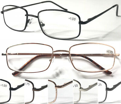 L90 Unisex Classic Style Metal Reading Glasses/Spring Hinges Design/Comfort Arms