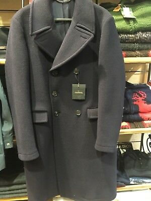 Crombie Pure Wool Military Style Navy Coat size 40