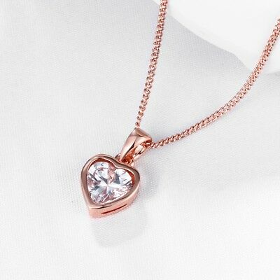 Reversible Heart Necklace With Diamonds in Silver & 14K Rose Gold