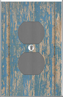 Farmhouse rustic blue barn wood plank image power outlet cover wall plate decor