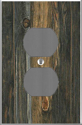 Farmhouse rustic barn wood plank image power outlet cover wall plate DIY decor