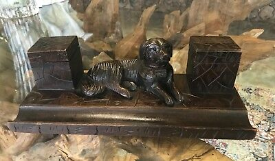Antique Vintage Black Forest Dog Desktop Desk Top Ink Well Stand