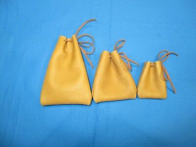 3 GENUINE DEER TANNED Drawstring Pouches, Coins Hunting & Fishing Mis Use