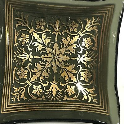 Square Glass Butter Pats with Black with Gold overlays vintage set of 4