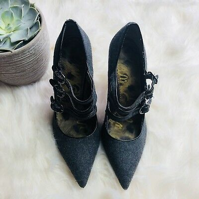 27b73f9b5 Sam Edelman Women s High Heels Peyton Pointed Toe 3 Strap Gray Black - Size  6.5