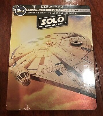 Brand New Sealed Solo Star Wars Story Steelbook 4K Ultra HD Blu-ray Digital Code
