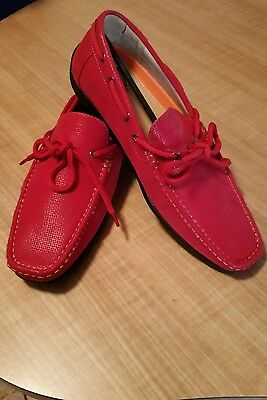 Lot (N1) Mens 8.5 M Aruba-2 Red / Tan Boat Shoes By Phat Classic Slip-On New
