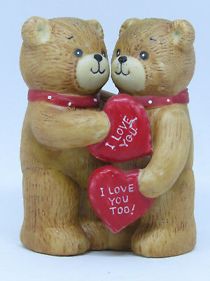 1979 Lucy & Me Bears Hugging Each Other Holding I Love You Valentine Hearts
