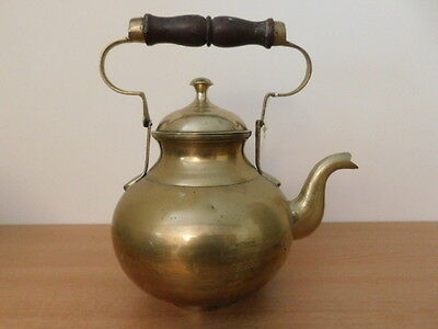 Antique Vintage Brass Teapot Kettle With Wooden Handle
