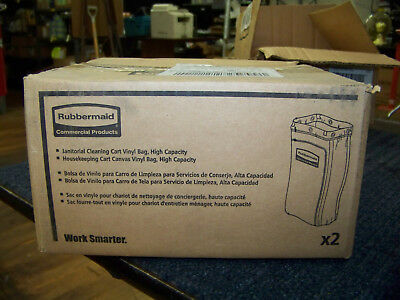 Rubbermaid Commercial Bag w/ Zipper for Housekeeping Cart Vinyl 2 ea FG9T8000YEL