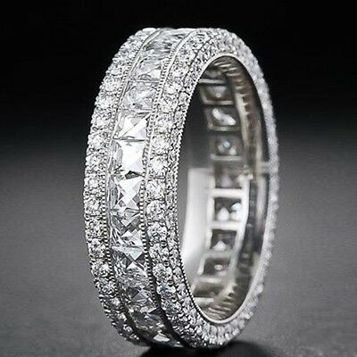 18K White Gold Plated Iced Out Lab Diamond Silver ETERNITY Band Mens Ring