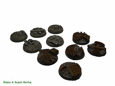 Resin 25mm Round Urban/Rubble Scenic Infantry Bases Wargames, WH40K, Astra Milit