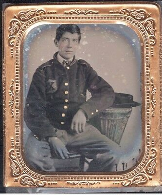 RARE Civil War 6th Plate Ambrotype 56th New York Soldier 10th Legion Identified?