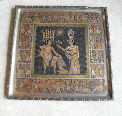 Unique Vintage Bronze Etched Brass Ancient Egypt Man Woman Square Plate Look