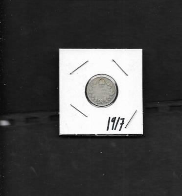 pk40726: Canada Coin - King George V 1917  Silver 10 cent Dime