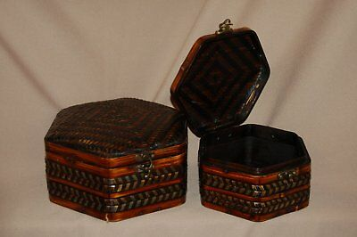 Bamboo Woven Chinese Jewelry Box with Brass Latch - Fine Handcrafted, WOW!