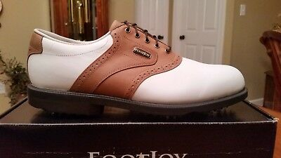 2012 Footjoy Dryjoys ECL/Optiflex Mens Golf Shoes 53661 NEW Wh/Tan 8.5M   NICE