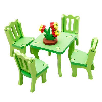 Wooden Doll House Furniture Dinning Room Set Kids Role Pretend Play Toy Gift
