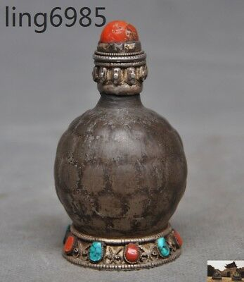 Marked Old Tibet silver crystal inlay Turquoise coral snuff bottle statue    A
