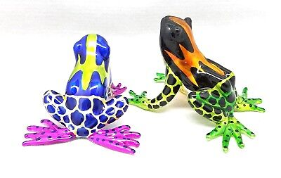 Frog Hand Blown Glass Amphibian Animals Figurine Miniature Art Decor Handmade