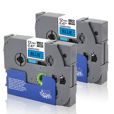 """2PK TZe531 12mm 0.47""""Black /blue Compatible/Brother p-touch printer Label Tape"""