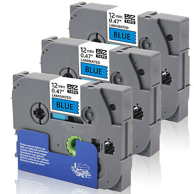 """3PK TZe531 12mm 0.47""""Black /blue Compatible/Brother p-touch printer Label Tape"""