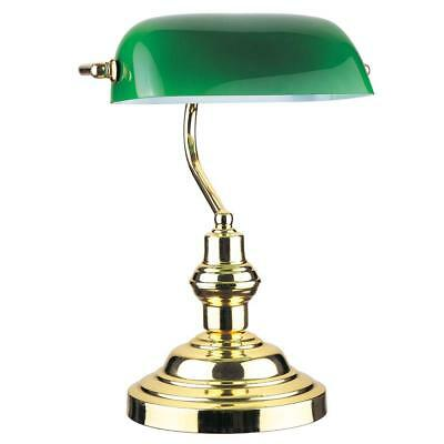 "Bankers Desk Lamp 15"" H, Green Glass Shade with Polished Gold Finish Bra..."