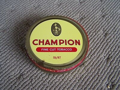 Vintage Champion Fine Cut Tobacco Tin 50G Net Yellow And Red Logo