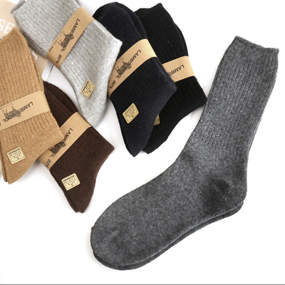 3 Pairs Mens Merino Wool Gentleman Dress Warm Thick Solid Breathable Basic Socks