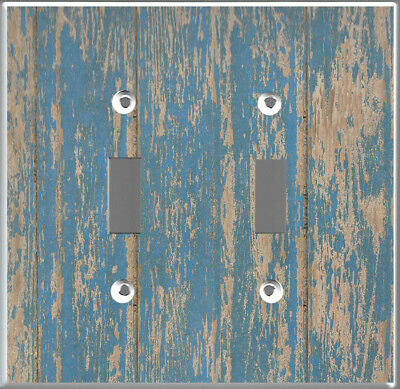 Farmhouse rustic blue barn wood plank image Toggle-Double cover wall plate decor