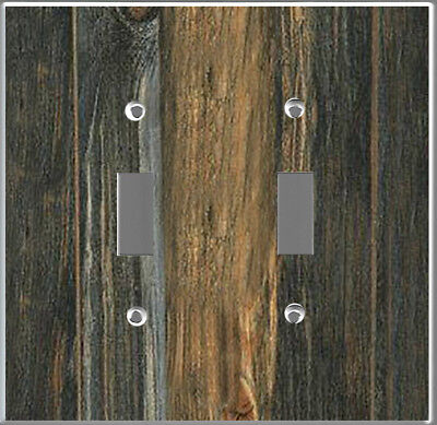 Farmhouse rustic barn wood plank image Toggle-Double cover wall plate DIY decor