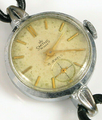 Vintage Smiths Deluxe 15 Jewels Silver Small Ladies Watch Switzerland Art Deco !