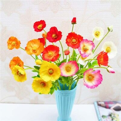 5pcs/Bounch Simulation Poppy Flowers New Year Home Garden Party Decoration Hot