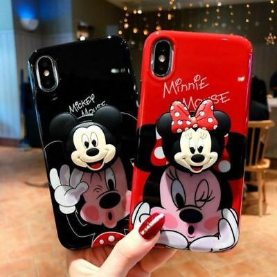 For iPhone XS Max XR X 8 7 6 3D Cartoon Disney Minnie Toy Stand Holder Back Case