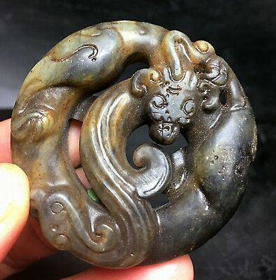 Chinese Exquisite Hand-carved Dragon Carving Nephrite Jade Pendant