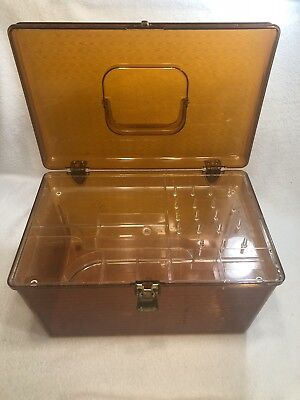 Vintage WILSON WIL-HOLD Plastic Sewing Box w/Removable Tray Clear AMBER Large