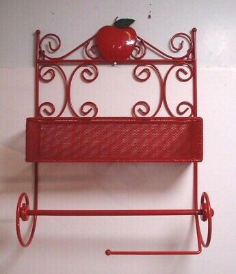 Red Wrought Iron Wall Hanging Hand Towel Shelf Bathroom Kitchen Le Scroll