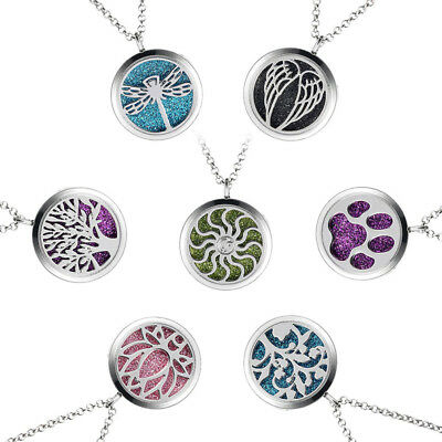 Silver Aromatherapy Perfume Essential Oil Diffuser Locket Pendant Chain Necklace