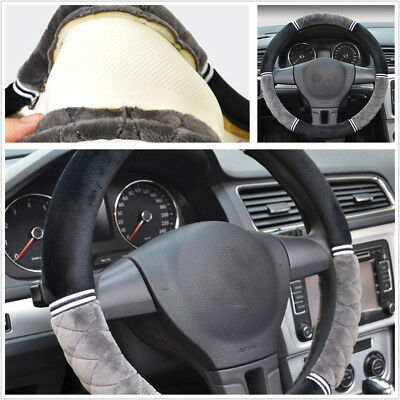 Car Black+Grey Short Plush 38cm/15'' Steering Wheel Protector Cover Warm Winter