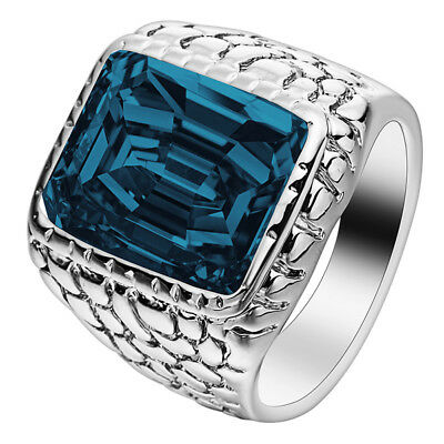 Men's Womens Vintage Patterned Stainless Steel Charm Ring Band With Sapphire