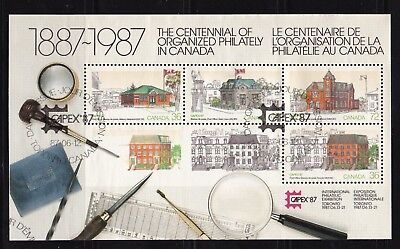 Canada 1987 CAPEX '87 SOUVENIR SHEET #1125A WITH 4 STAMPS #s 1125a-d FROM FDC