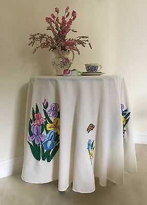 Vintage Handcrafted FRENCH KNOTS Tablecloth/Topper Multi Color on Ivory~GORGEOUS