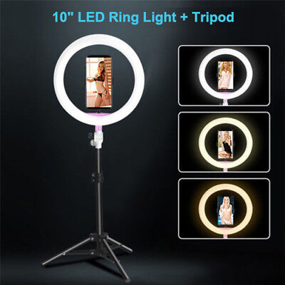 """10""""Dimmable Portable LED Ring Fill Light Selfie Mirror Stand Camera Youtube Live"""